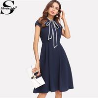 Sheinside Navy Tie Neck Dress Solid Zipper High Waist Knee Length Dress 2018 Summer Women OL