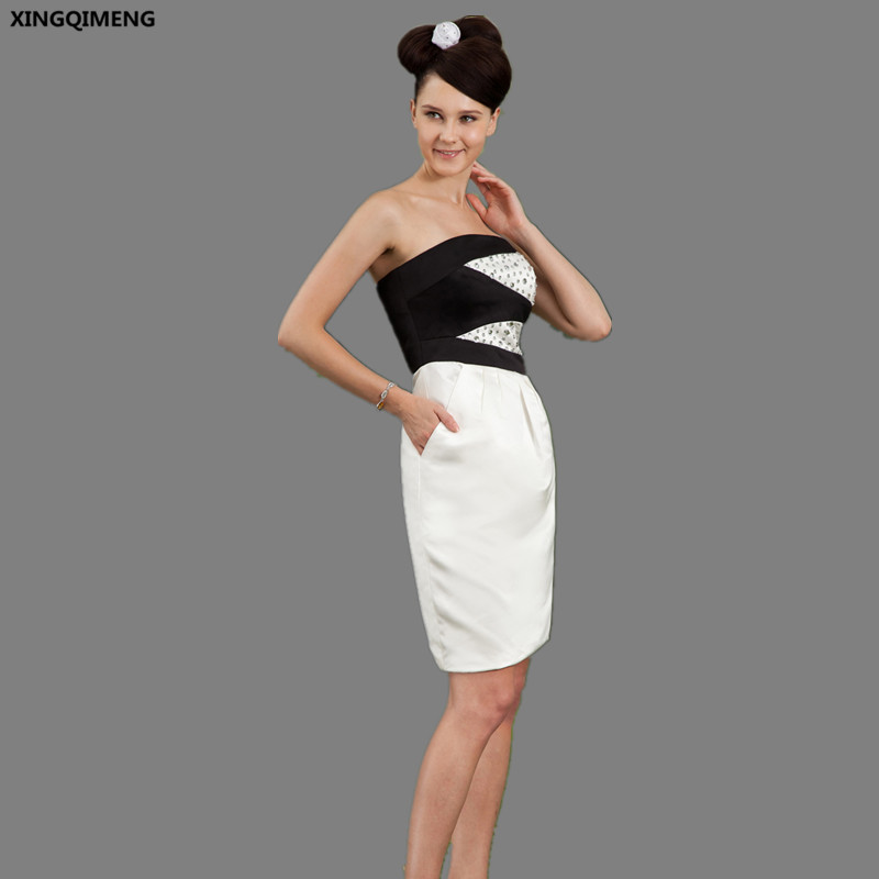 Black And White Cocktail Dresses With Pockets Elegant Sexy Strapless
