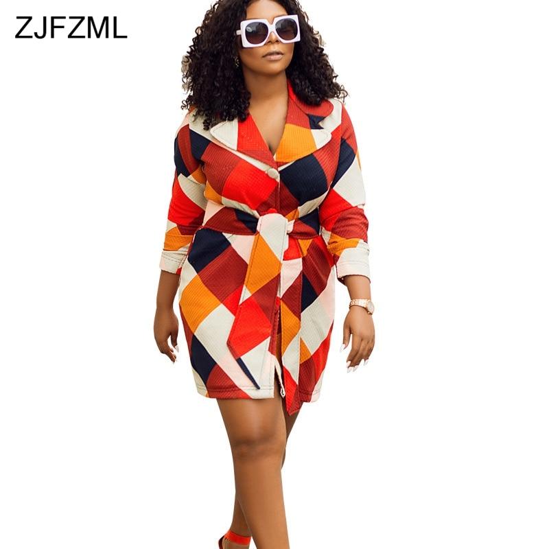 ZJFZML Colorful Plaid Printed Autumn Mini Dresses Women