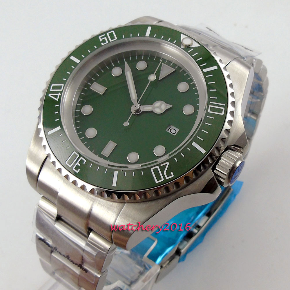 New 44mm Bliger Green sterile dial ceramic bezel Date Hot styles Crystal Luminous Hands Automatic Mechanical Men's Watch new forcummins insite date unlock proramm