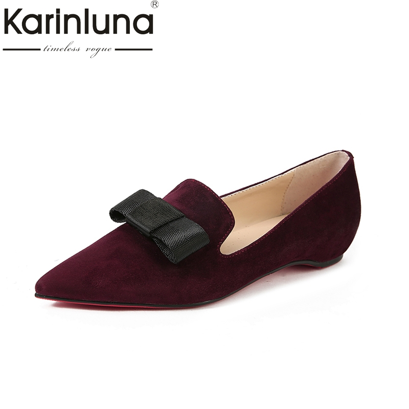 KarinLuna 2018 fashion kid suede slip on bowtie pointed toe women shoes woman Casual comfortable Flats shoes Big Size 34-39 shoes women comfortable casual soft fashion slip on pointed toe suede flat loafers shoes