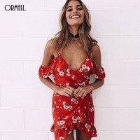 ORMELL Sexy Ruffle Floral Print Summer Beach Dress 2017 Women Off The Shoulder High Waist Strap
