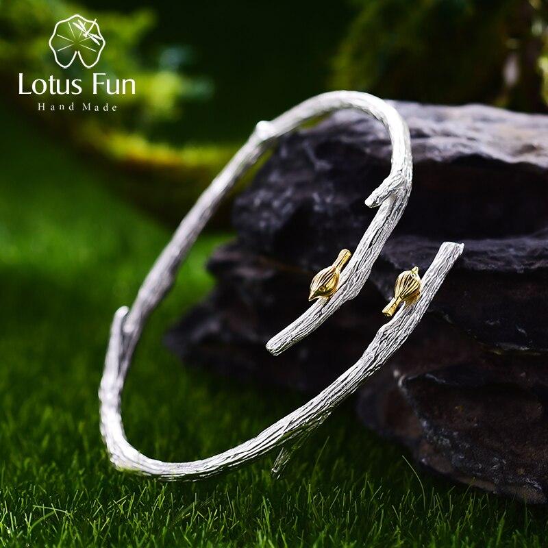 Lótus diversão real 925 prata esterlina natural original artesanal jóias finas pássaro no ramo ajustável bangle para mulher bijoux
