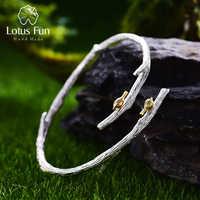 Lotus Fun réel 925 argent Sterling naturel Original fait à la main Bijoux fins oiseau sur branche bracelet réglable pour les femmes Bijoux