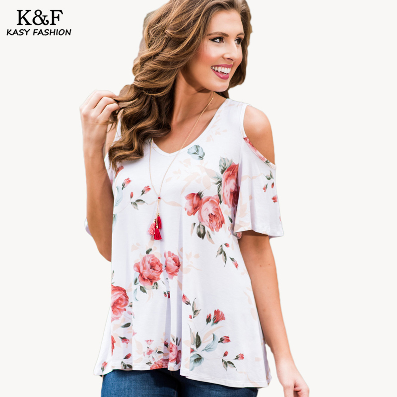 Casual Cold Shoulder Floral Print Summer tshirt 2017 Women