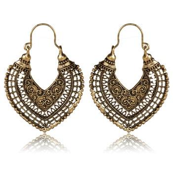 HuaTang Vintage Gold Silver Round Heart Earrings For Women Alloy Brincos Earings Oorbellen Hoop Earrings Pendientes Bohemia 5036 1