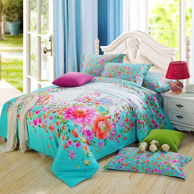 Aliexpress Com Buy Bright Color Blue Floral Print Girls Bedding