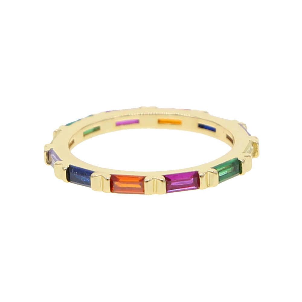 קשת מעוקב zirconia בגט דק זהב טבעת קו צבעוני cz נצח להקת טבעת עבור נשים חמה אופנה אלגנטית תכשיטי מחסנית