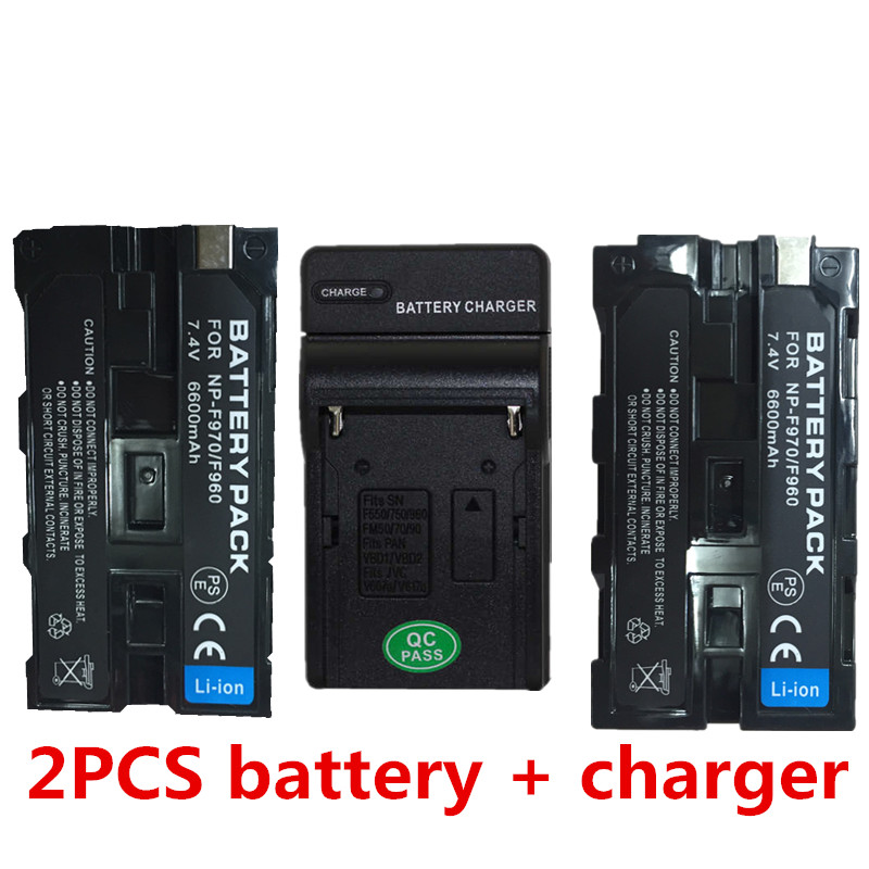 for Capacity Camcorder Flash LED NP-F960 F970 F950 F930 NP F750 battery batteries with charger np f960 f970 6600mah battery for np f930 f950 f330 f550 f570 f750 f770 sony camera
