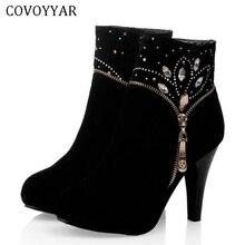 COVOYYAR 2019 النساء حذاء من الجلد الخريف الشتاء رقيقة حذاء حريمي كعب عالي حجر الراين البريدي خنجر الجوارب حجم كبير 34 43 WBS461