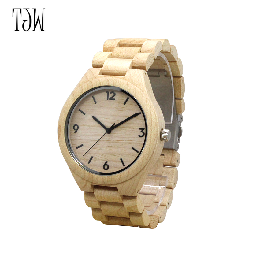 TJW Men's Bamboo Wooden Wristwatches With Genuine Cowhide Leather Band Luxury Wood Watches for Men as Gifts Item luxury fashion japan quartz men wood watch arabic big number vintage genuine leather band bamboo wooden wristwatches antibrittle