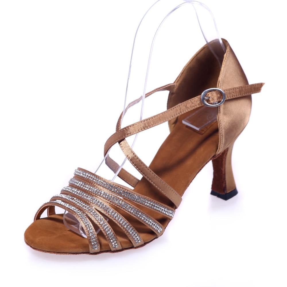 ФОТО Elegant lady girl dancing latin Raks Sharki belly prom ball satin dance shoes rhinestone crossed strap red brown silver gold
