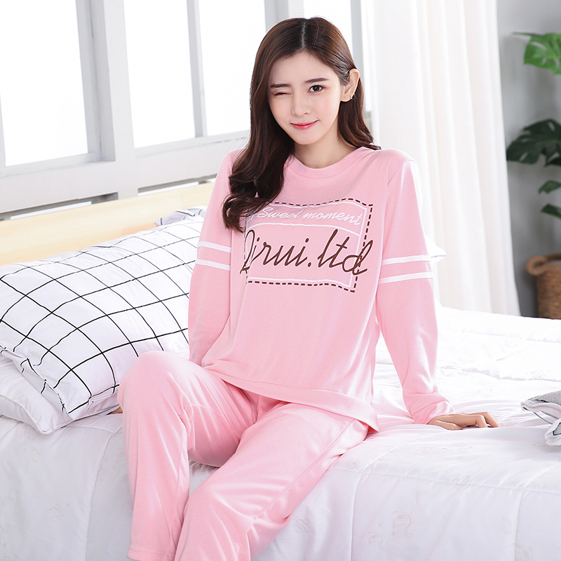 d5634d94dd Detail Feedback Questions about Women s Spring and autumn long sleeve  pajamas large size lady sleepwear suit female Nightwear cotton Top home  clothes on ...