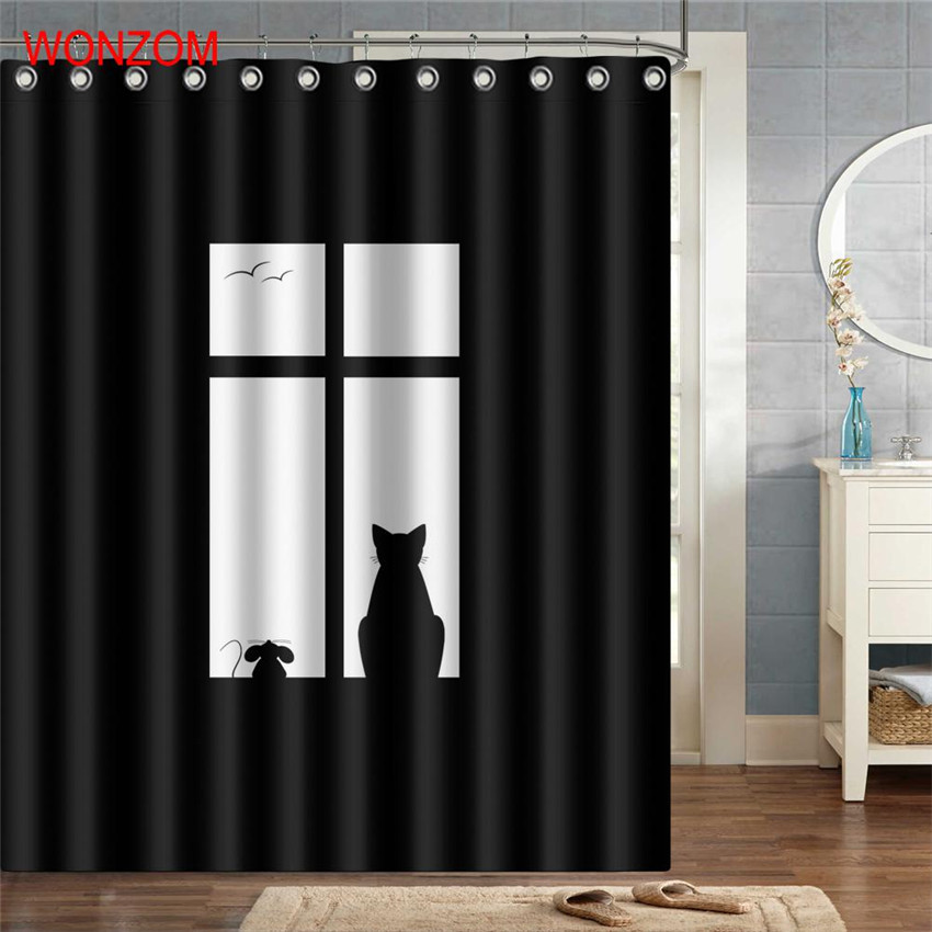 WONZOM Light And Shade Shower Curtains with 12 Hooks For Bathroom Decor Modern Concise Style Bath Waterproof Curtain in Shower Curtains from Home Garden
