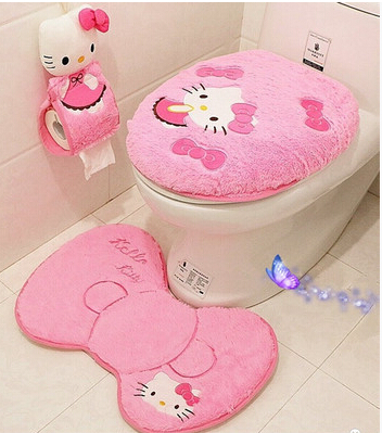 Kawaii Hello Kitty Soft Warm Fur Bathroom Carpet Set Toilet Seat Cover Set