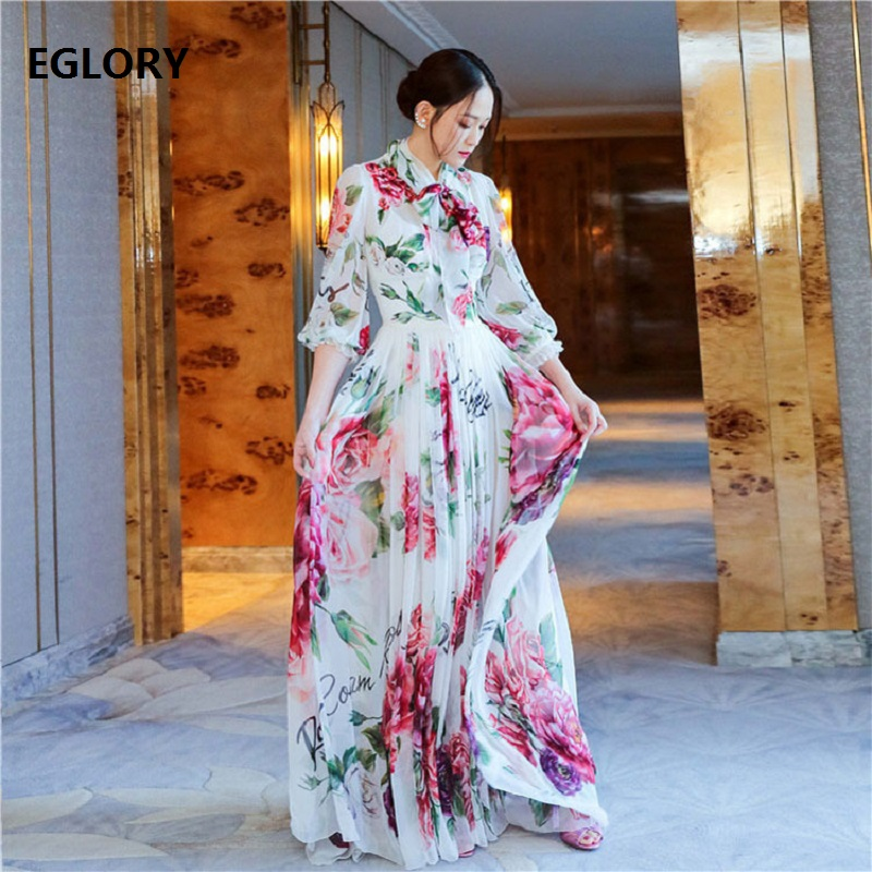 New Celebrity Inspired Women's Dress Autumn Party Sexy Dresses Ladies Romantic Rose Flower Print Elegant Pleated Dress Sweet