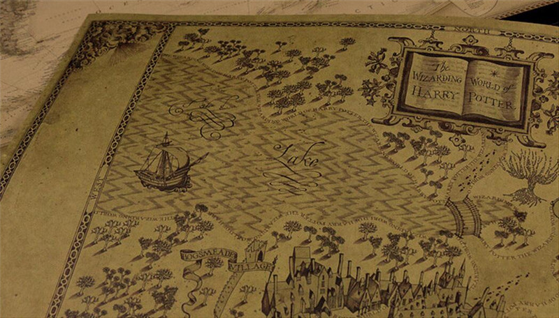 Vintage Classic Movie Harry Potter The Wizarding World Map Poster ...