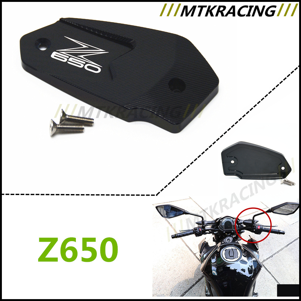 For Kawasaki Z650 Z 650 logo 2017 Motorcycle accessories Aluminum Brake Fluid Reservoir clutch Fluid Oil Protector Cap Cover universal motorcycle brake fluid reservoir clutch tank oil fluid cup for mt 09 grips yamaha fz1 kawasaki z1000 honda steed bone