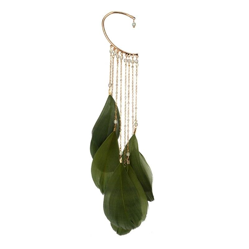 1 Paar Boho Natuurlijke Feather Dangle Oorbellen Geen Piercing Manchet Oor Clip Voor Vrouwen Oor Decor Christmas Gift W77