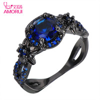 AMORUI Vintage Women Ring Blue CZ Fashion Black Gold Color Flower Wedding Engagement Rings For Women