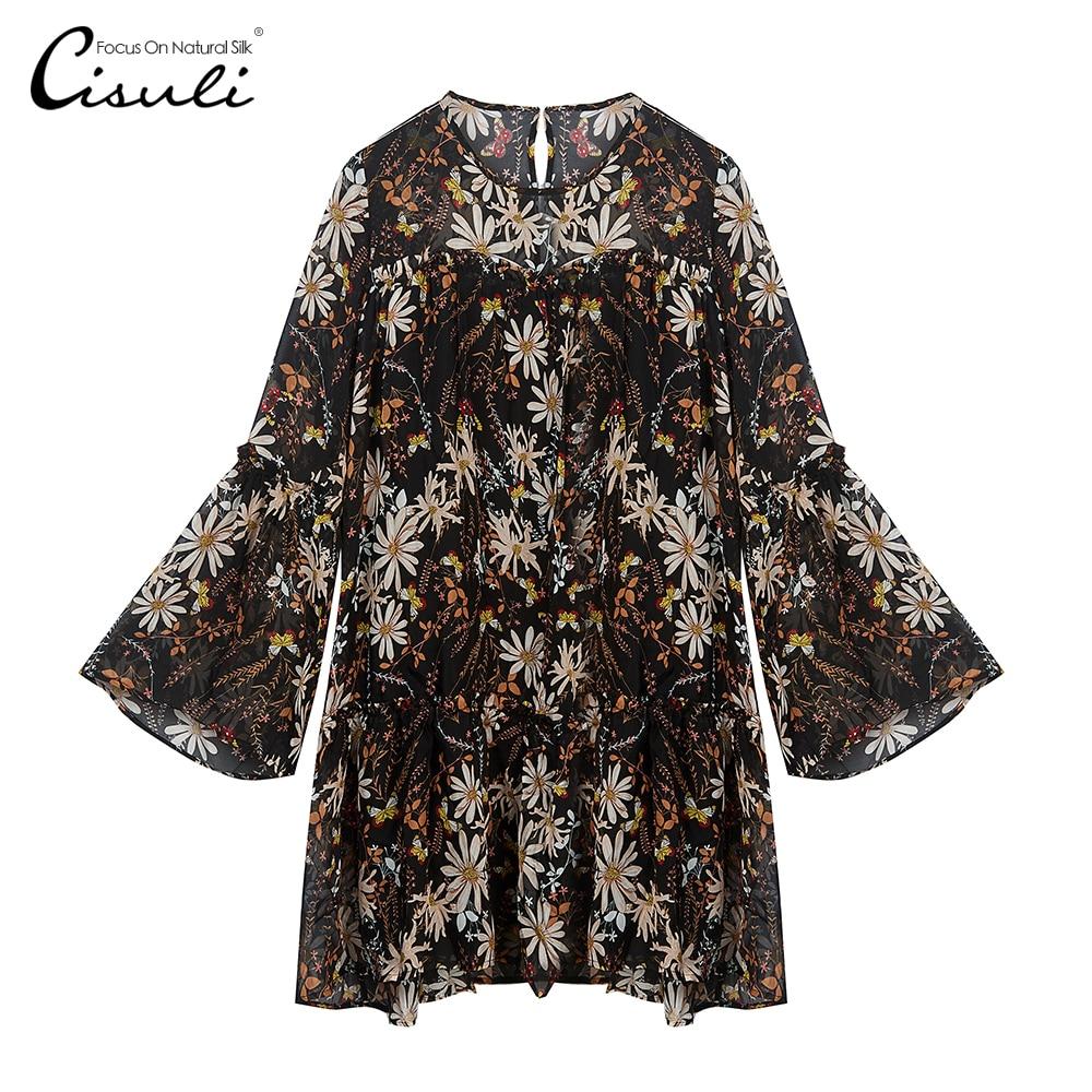 CISULI 100% Silk Chiffon Dress Pure Silk Fabric Women Summer Dresses New Desigual Breathable Anti Allergy With Belt