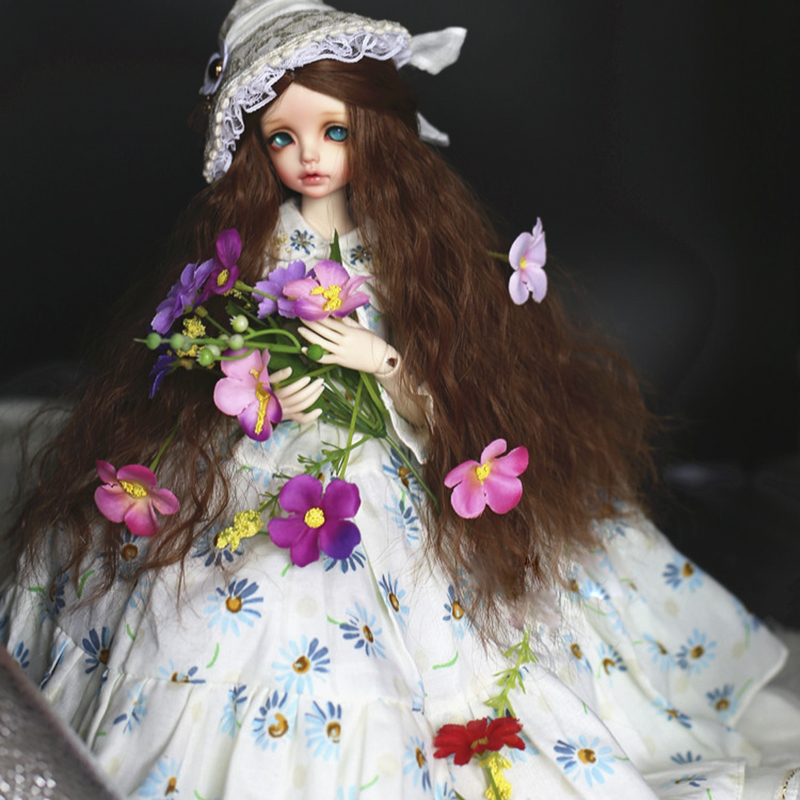 Allaosify  1/3 1/4 1/6 BJD SD Wigs Long Wave Smoke gray maroon Gold High Temperature Fiber for Dolls