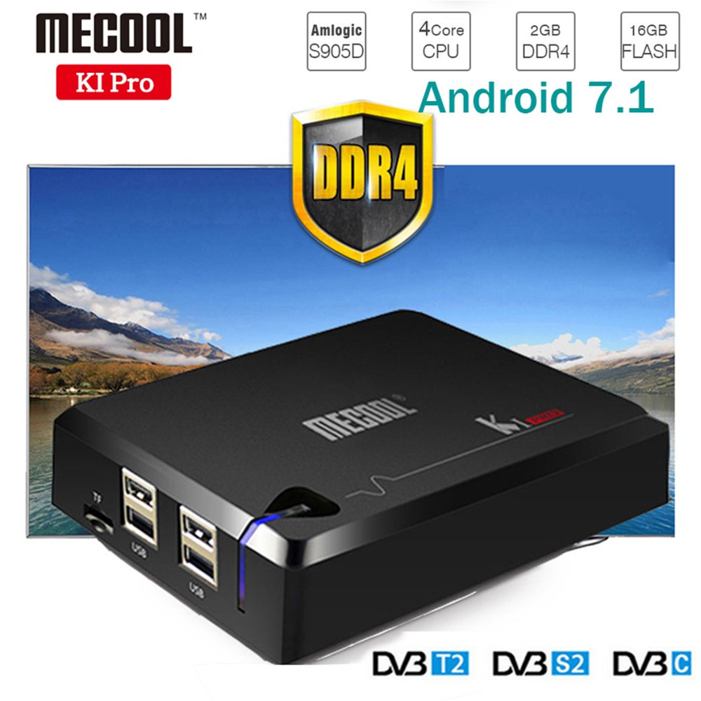 NEW! MECOOL KI PRO TV Box KI PRO S2+T2 DVB Amlogic S905D Quad 2G+16G Support DVB-T2&S2/DVB-T2/DVBS2 Set Top Box Android TV Box k1 dvb s2 android 4 4 2 amlogic s805 quad core tv box