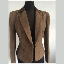 2016 new female short spring suit slim Suit Jacket Women Retro Womens wool tweed coat size