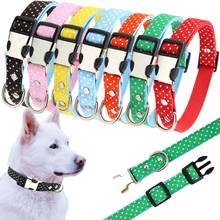 Adjustable Dog Collar Dot Polyester Padded Leather Puppy Cat Collars For Small Medium Large Dog Pet Harness S/m/l Dropshipping genuine leather solid padded pet dog collar husky pit bull soft diving cloth puppy cat dog collar for small medium large dog