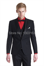 Latest Style Groom Tuxedos Black One Button Notch Lapel Best man Groomsman Men Wedding/Prom Suits Bridegroom Jacket+PantsTieVest