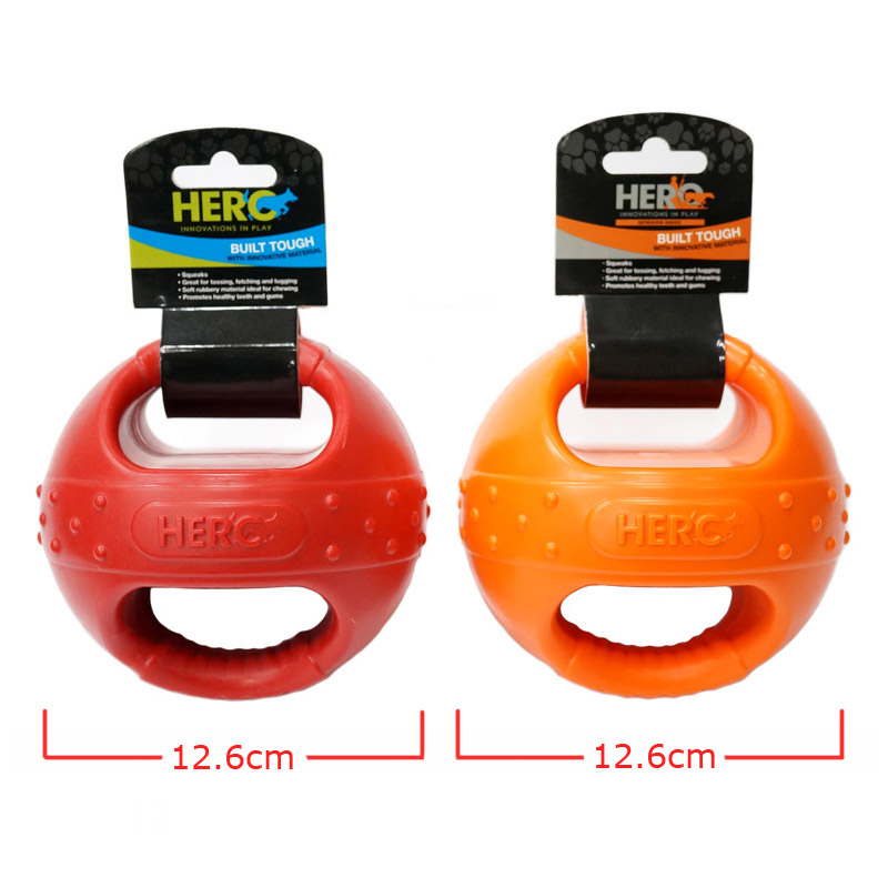 CAITEC Dog Toys Handle Ball with Squeaker Floatable Springy Great for Tossing Chasing Suitable for Interactive