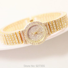 2017 Nieuwe Vrouwen Volledige Strass Horloges Rose Gouden Jurk Horloges Volledige Diamond Crystal Dames Luxe Horloges Vrouwelijke Quartz Horloges