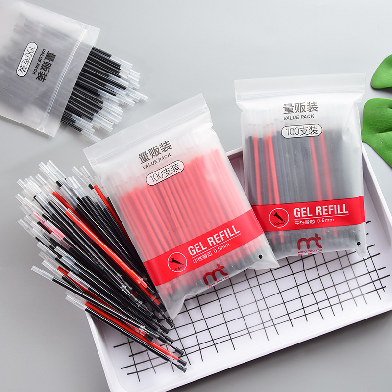 100PCS/lot Full Needle Tube Neutral Pen Core Set 0.5M Carbon Pen Black Wholesale Pen Core/Blue Red Gel Pen Refill Stationery