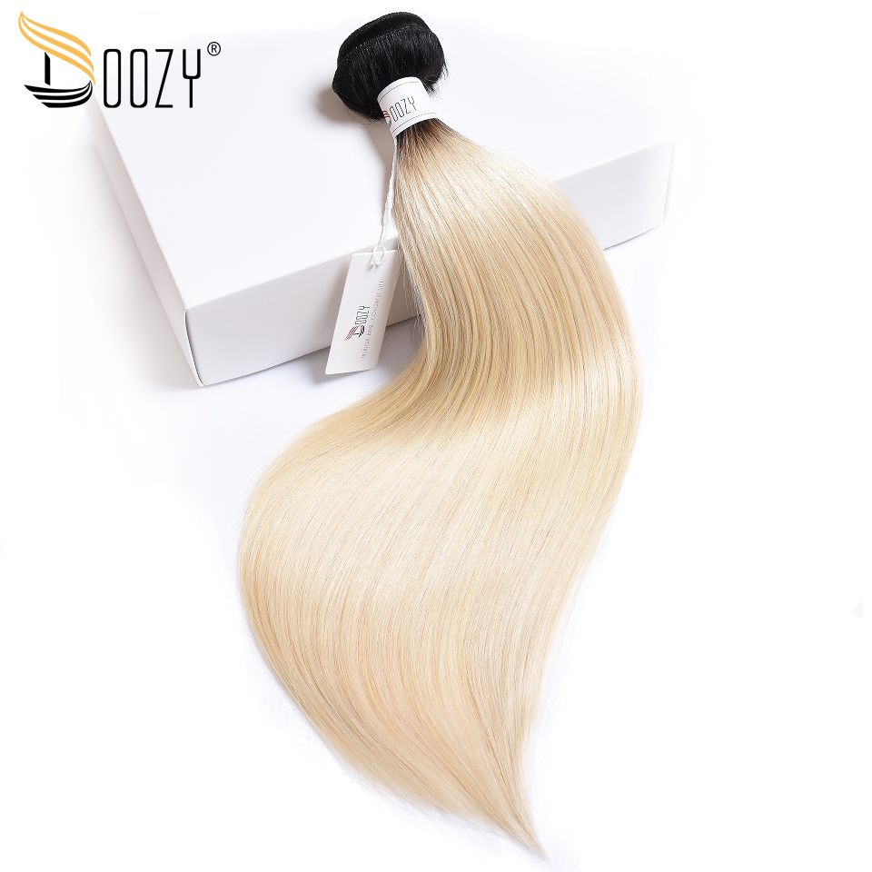 Doozy Ombre Color 1b/613 Human Hair bundle Double Weft Hair Extensions Russian Blonde Remy Straight Brazilian Human Hair