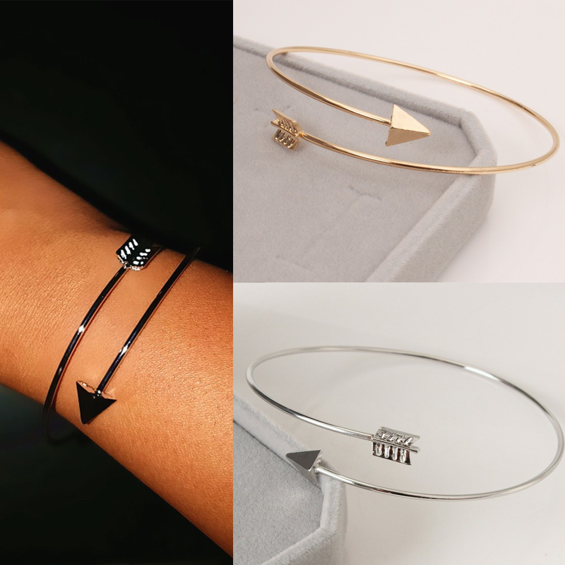 Punk Open <font><b>Adjustable</b></font> Arrow Cuff <font><b>Bracelets</b></font> for Women Fashion Simple Gothic Wrist Feather Bangles Gift Jewelry Wholesale image