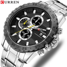 цена CURREN New Hot Brand Quartz Watches Men Black Stylish Sport Chronograph Calendar Watch Silver Stainless Steel Strap Montre Homme онлайн в 2017 году
