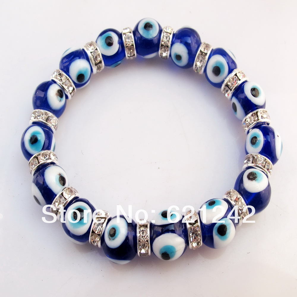 2017hottest Fashion Chamilia Beads Strand Bracelet Gl Dark Blue Evil Eyes Charm Jewelry Bracelets Bangle Whole Eb314 In From