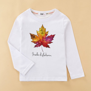 Fashion kids t shirt boys Canada red maple leaves tops long sleeve casual children clothes cotton fun lemon bike baby girls tees(China)