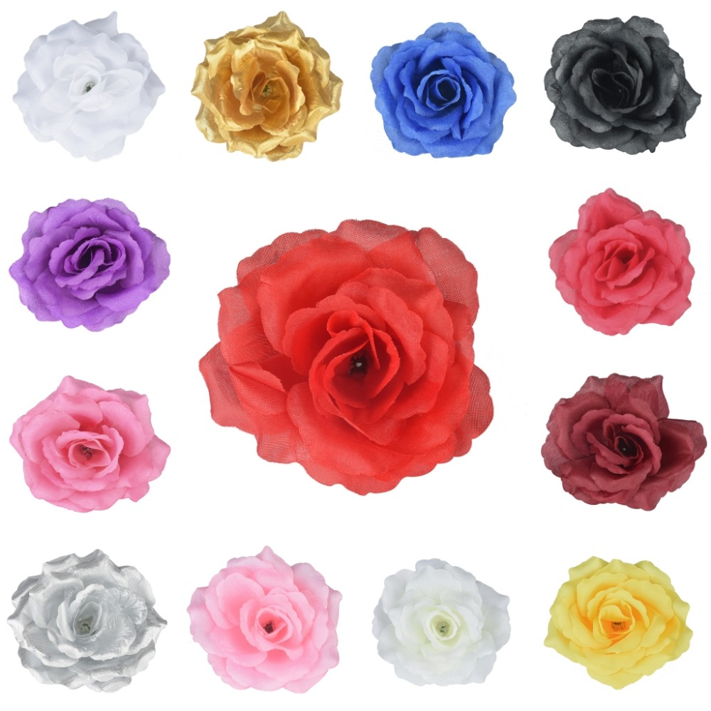 100 Pieces 11Cm 4 Inches Artificial Silk Big Rose Flower Heads Home Garden Decor Party & Wedding Hair Clip Favors