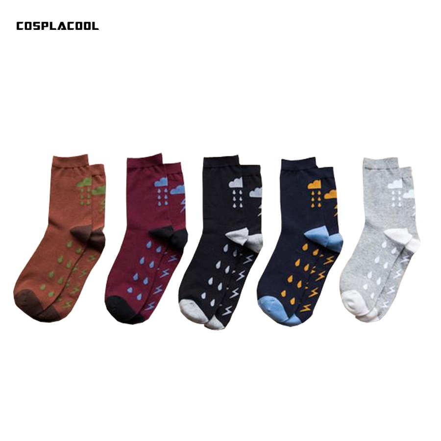 Latest Collection Of the Weather Lightning Cloud Pattern Men In Tube Socks Cotton Autumn Winter Rain Chaussette Homme Calcetines Hombre cosplacool