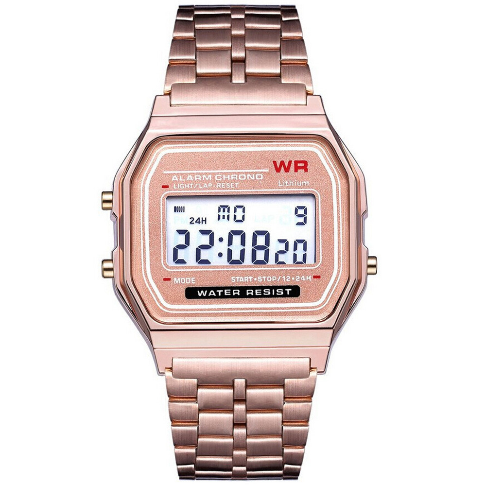 Digital Watches Stainless Steel Vintage Life Waterproof Alarm Stopwatch Gold Clock
