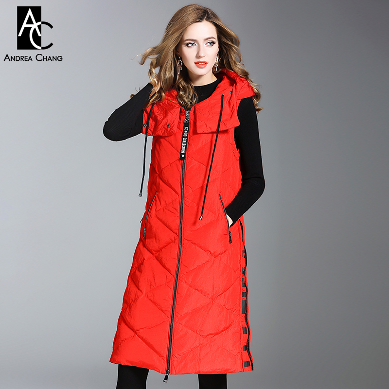 autumn winter woman outwear white duck down fill long vest coat with hood zipper pockets letter print side black gray red vest