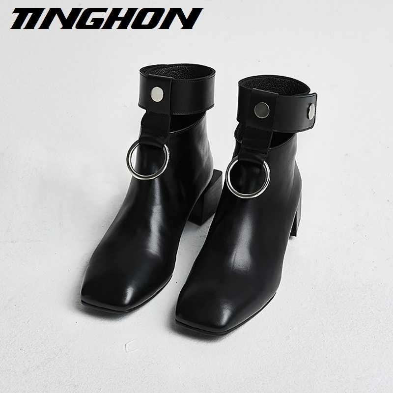 TINGHON 2017 New Women ankle boots Cut-Outs Retro Martin boots Square Toe Metal rings zip shoes for ladies luxury design ...