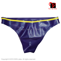 purple with yellow trims on top Sexy Latex G String Rubber underwear briefs pants knicker panty underpants bottoms shorts KZ 141