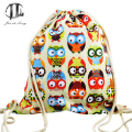 new brand 3D Fashion Printed Animal Owl Pattern Cute Girl'S Backpacks Women's Lady Travel Shopping Drawstring Bag