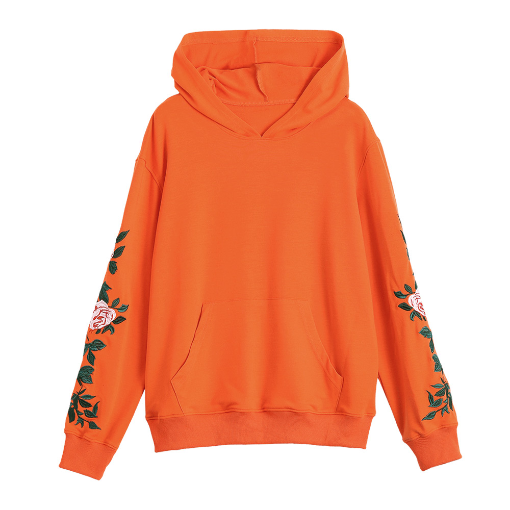75fa3b6d120 New Arrival Funny Rose Flower Embroidery Sweatshirt Kawaii Thin Hoodies  Women 2018 Autumn Winter Casual Harajuku Hooded-in Hoodies & Sweatshirts  from ...