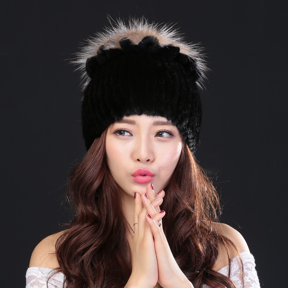 Women's winter hair hat high-quality natural mink wool knitted hat New arrival women mink fur hat flower quality good warmth wool felt cowboy hat stetson black 50cm
