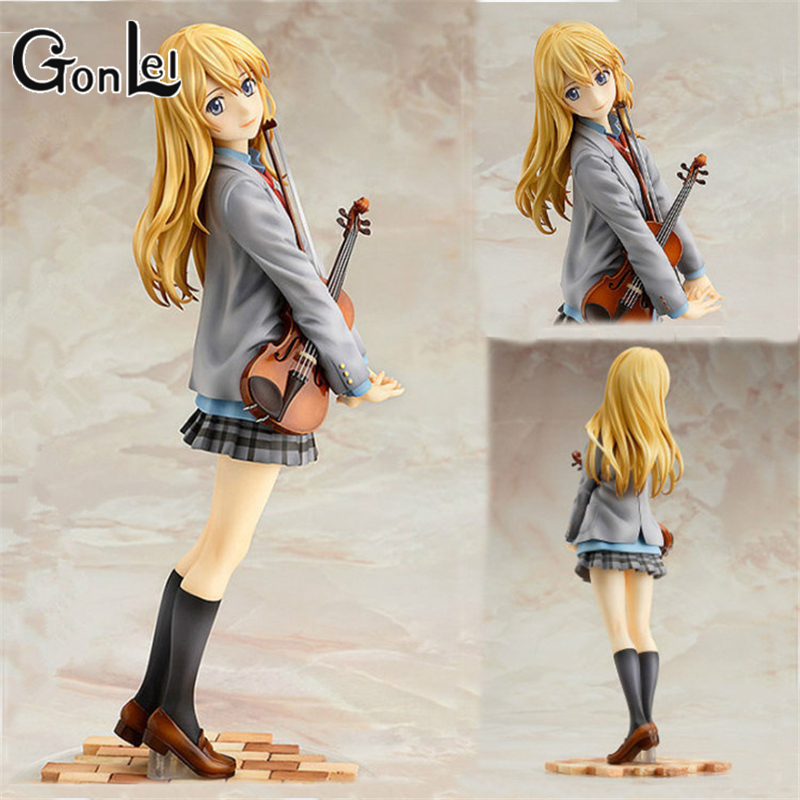 Action & Toy Figures 23cm Your Lie In April Kaori Miyazono Violin Action Figure Anime Doll Pvc New Collection Figures Toys Brinquedos Collection Soft And Antislippery