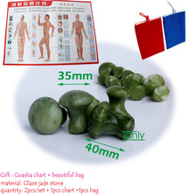 Free shipping! Traditional Acupuncture Massage Tool Guasha Board natural Glaze jade mushroom massager