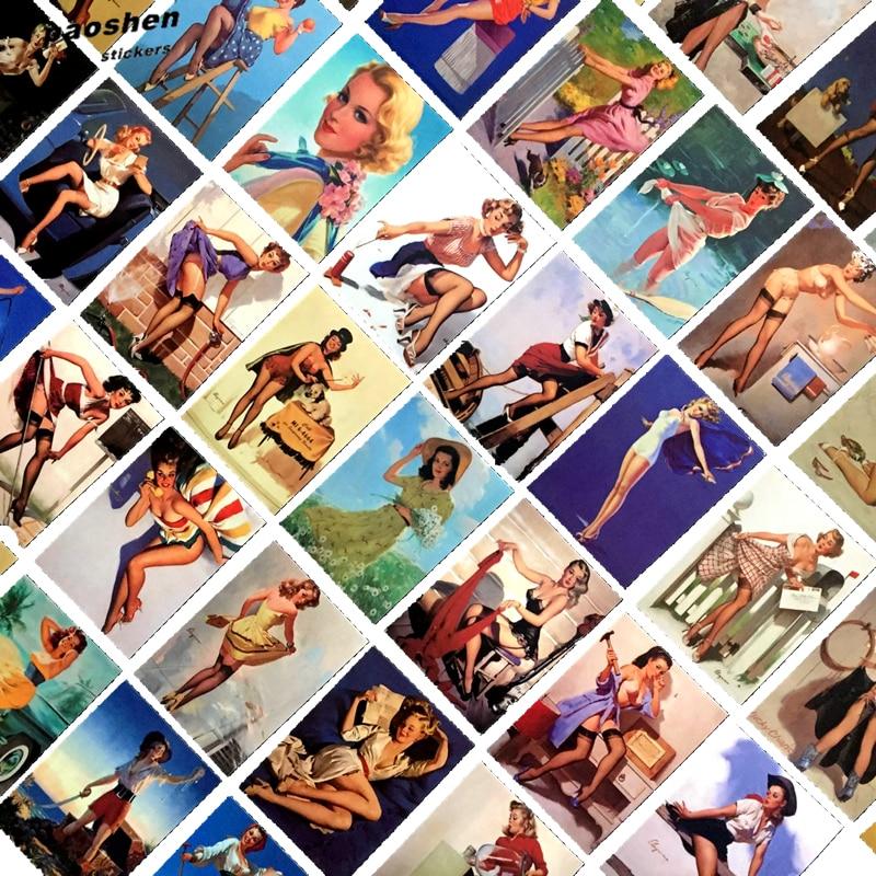 100 шт., ретро ПВХ водонепроницаемые сексуальные красивые Стикеры для девочек, для ноутбука, мотоцикла, скейтборда, Стикеры для багажа, офисные игрушки